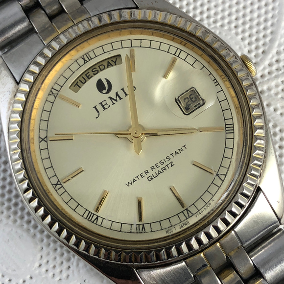Jemis Other - Vintage Jemis 2 Tone Gold Silver Watch Day Date